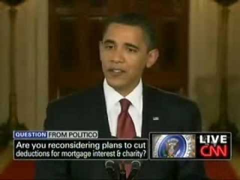 President Obama on reconsidering tax deductions for mortgage interest and charities
