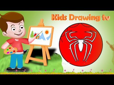 Drawing Spiderman Superhero Logo Drawing Paint And Colouring For Kids | Kids Drawing TV