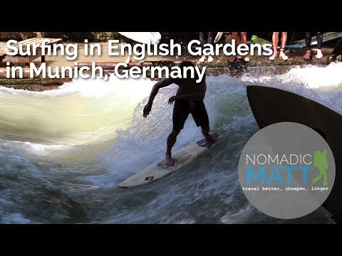 Surfing in the English Gardens in Munich, Germany