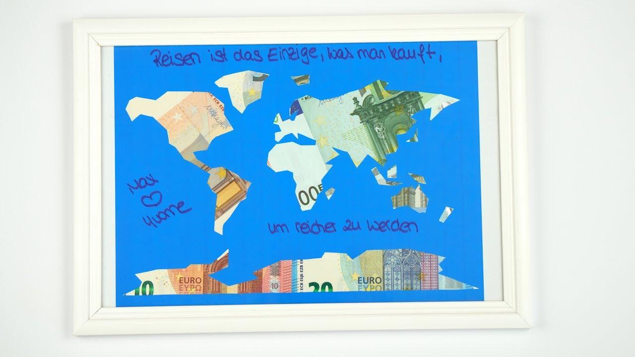 Geldgeschenk HOCHZEIT eine Weltkarte mit GELD basteln