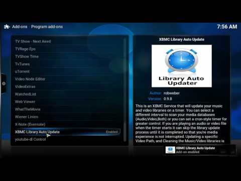 How to set a timer for updating the Kodi Video or Music Library - Library Auto Updater