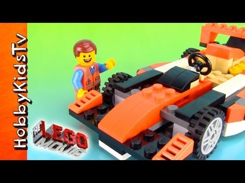The LEGO Movie Emmet Builds His RACE CAR! Toy Review Box Open 31017 by HobbyKidsTV