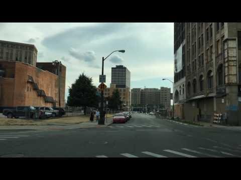 Driving Downtown Detroit Michigan USA