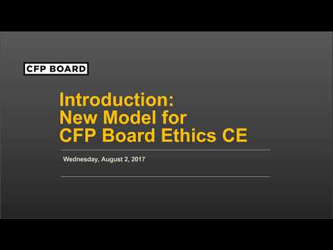 New Model for CFP Board Ethics Continuing Education: August 2017