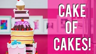 How To Make A CAKE OF CAKES! Chocolate, Coconut Raspberry and Pink Vanilla!