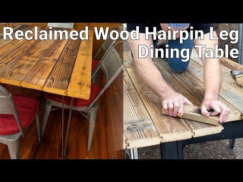 Reclaimed Wood Metal Hairpin Leg Dining Table