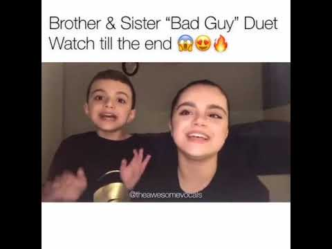 Brother and sister singing Bad Guy their voice is amazing 😍♥️