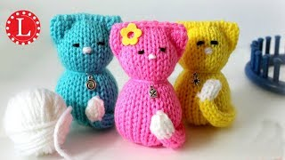 LOOM KNITTING Toy Tiny Kitty Cat on Small Circle Looms Pattern Amigurumi Project