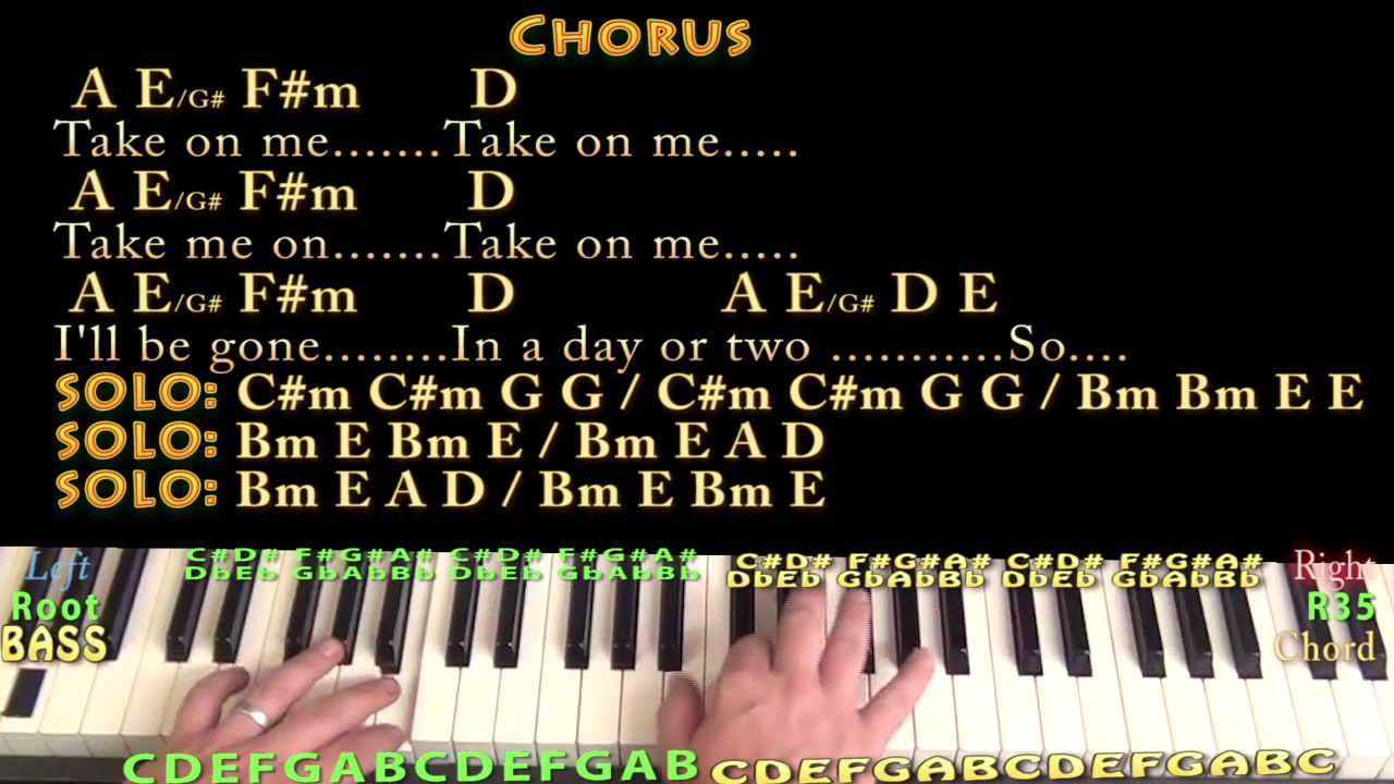 Take on me a ha piano cover lesson in a with chordslyrics youtube take on me a ha piano cover lesson in a with chordslyrics hexwebz Images