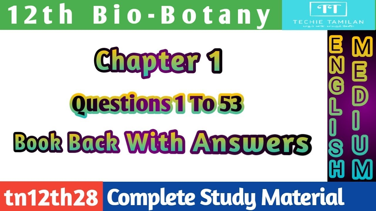 12th Bio-Botany | Chapter 1 Book Back With Answers | Questions 1 To 53