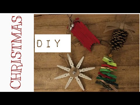 DIY RUSTIC/FARMHOUSE CHRISTMAS ORNAMENTS!!! CHRISTMAS TREE, PINE CONE, SNOWFLAKE, SLED!!!
