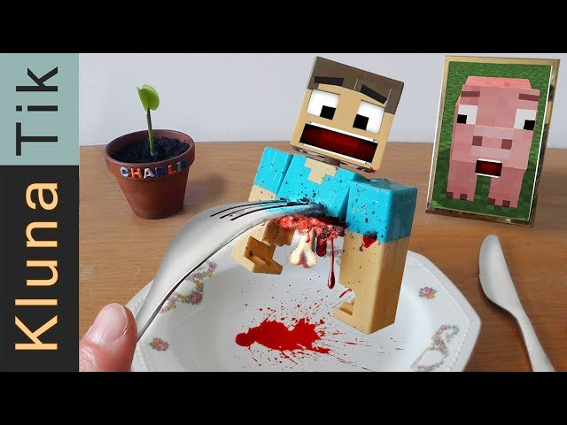 MINECRAFT:  EATING STEVE!!!!!    Kluna Tik Dinner #75 | ASMR eating sounds no talk