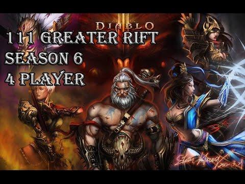 Diablo 3 RoS - 111 Grater Rift 4 Player Season 6