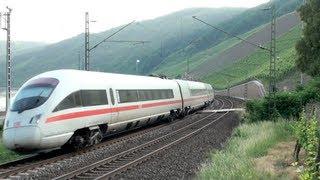 Züge nördlich von Boppard, ICE-T BR411, CB Rail E186, Railpool BR185, 2x BR101, 152, 2x BR460