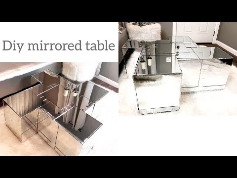 DIY Z GALLERIE MIRRORED COFFEE TABLE!! MADE OUT OF CARDBOARD BOXES!!