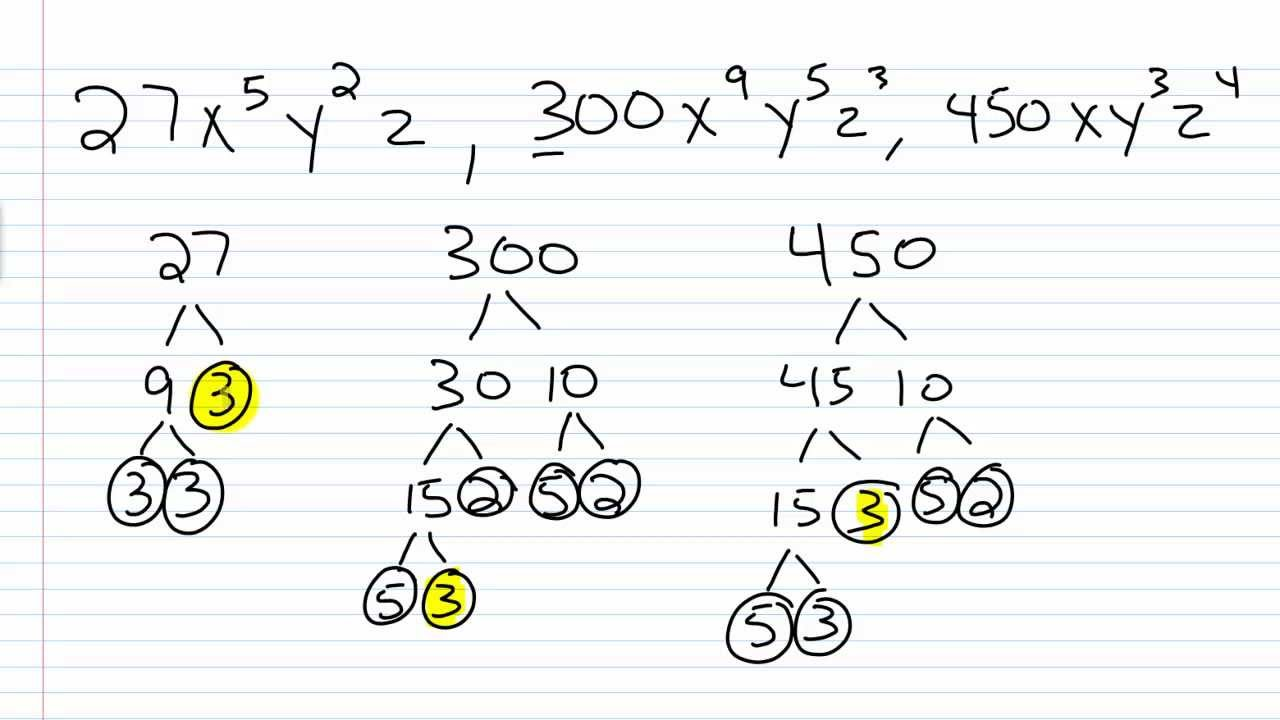 Algebra I Help: How to Find the Greatest Common Factor Part II 2/2 ...