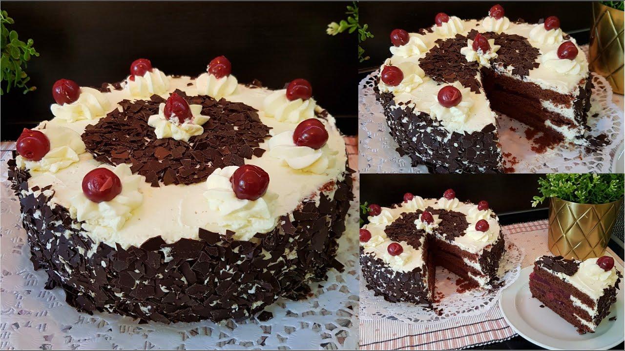 اسهل والذ تورته عيد ميلاد ممكن تعملوها بنفسكم بالبيت Black Forest Cake