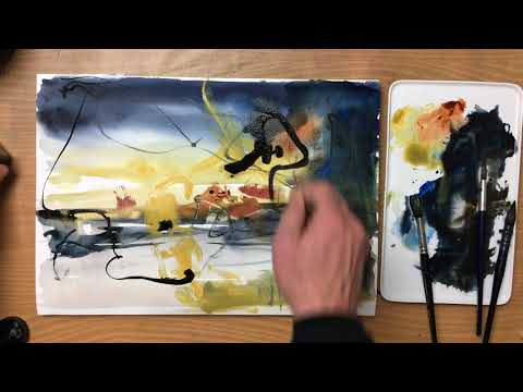 Tusch Ink experiments Watercolor painting