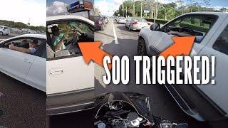 Motorcycle lane split ROAD RAGE TRIGGERED 5 Car Crash! + MAC MILLER likes my bike!