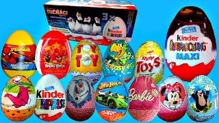 25 Surprise Eggs Penguins of Madagascar Kinder Surprise Eggs!! Disney CARS Barbie Angry Birds