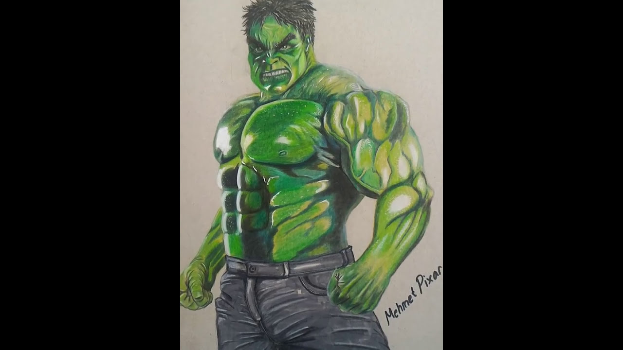 Hulk drawing with color pencils by MehmetPixar / Hulk Çizimim - YouTube