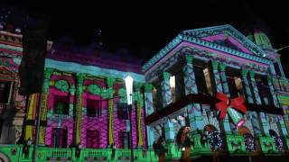 Christmas 2016 melbourne town hall christmas light show with music and trams!