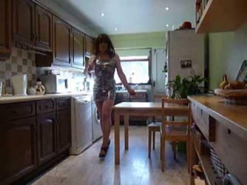 T Girl Emma in silver dress.