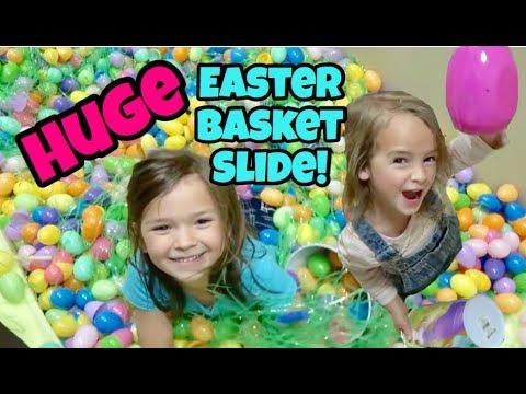Stair Slide into HUGE Easter BASKET! Fun Treasure EGG hunt!