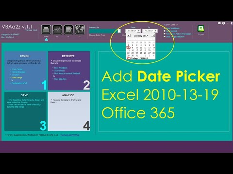 How to add date picker in Excel Form 2016
