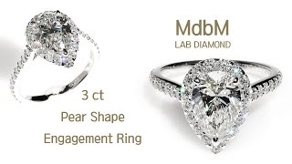 랩다이아몬드 3캐럿 페어(물방울)컷 약혼 반지 (Lab…