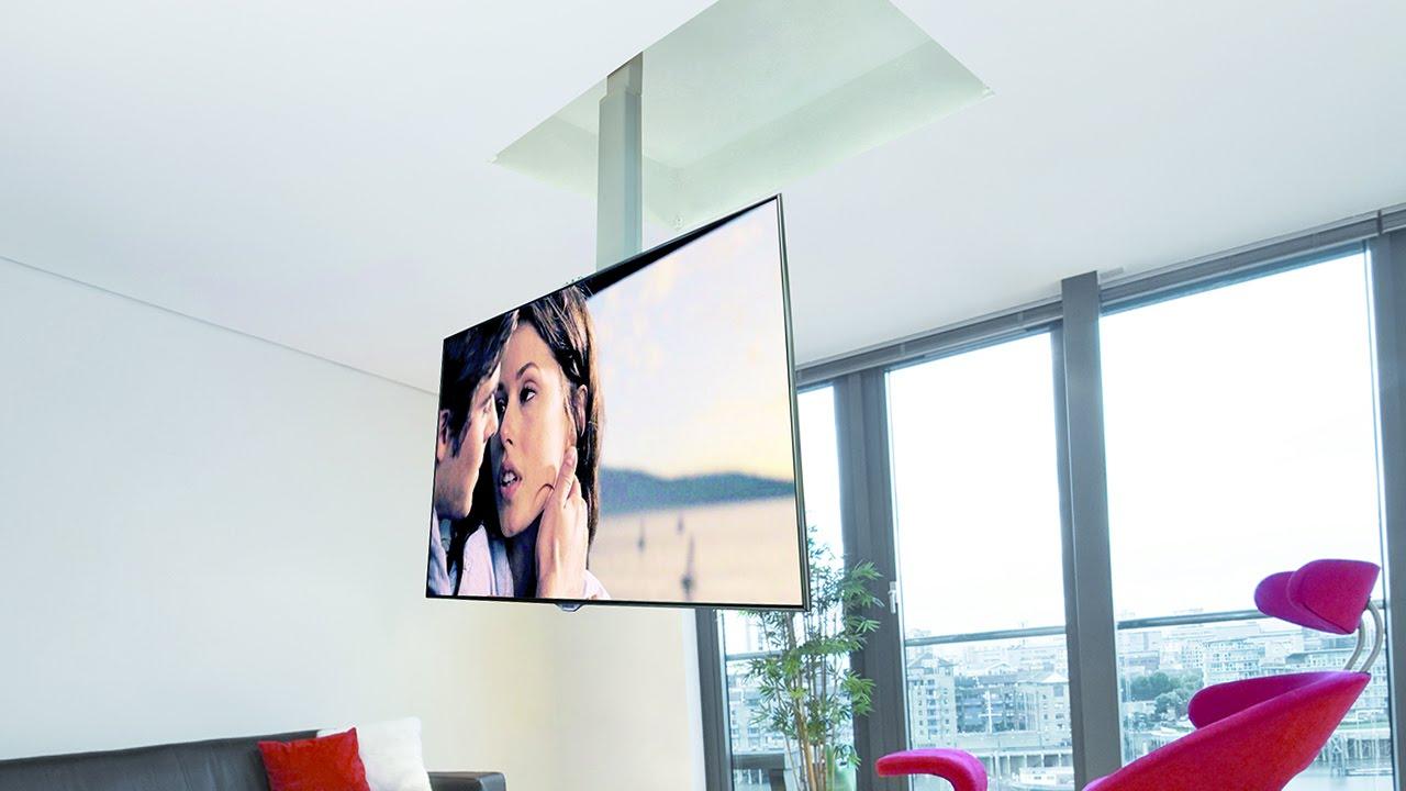 support tv au plafond en portefeuille avec descente et pivotant flip 900