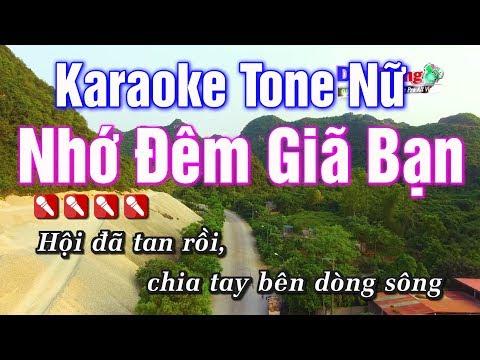 Karaoke || Nhớ Đêm Giã Bạn Tone Nữ || Nhạc Sống Duy Tùng