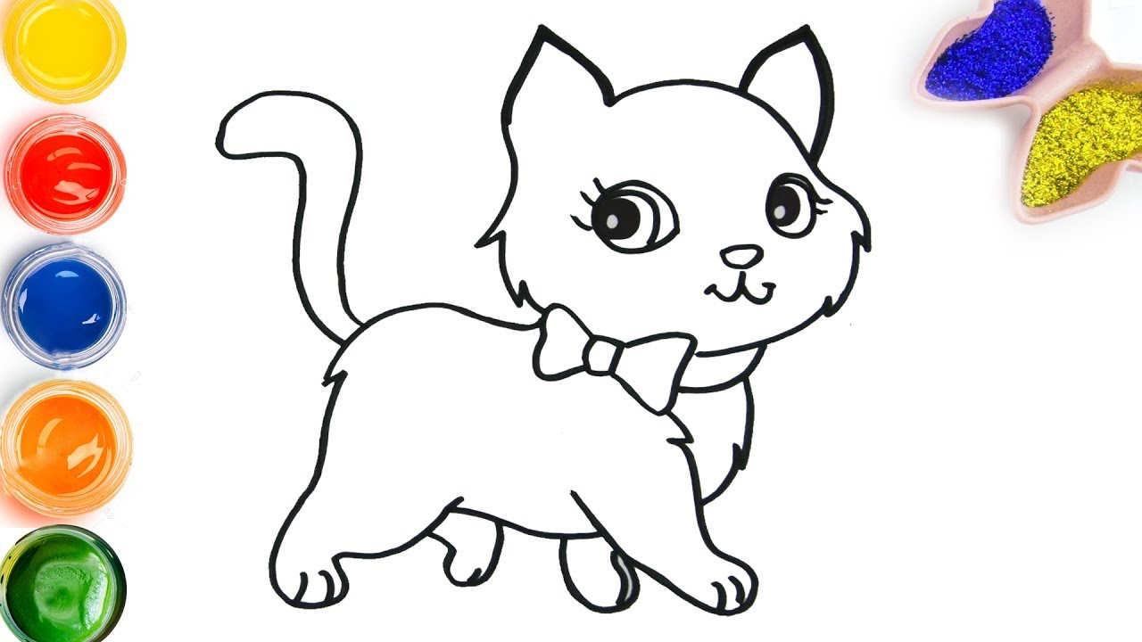 How to draw color cute cat