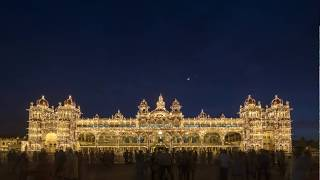 Venus and the Moon setting over the Mysore Palace