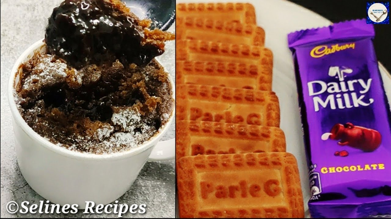 choco lava cup cake recipe with parle-g biscuits in kadai - no oven, no Egg |