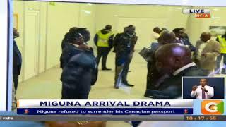 Scuffle erupts at JKIA as Raila attempts to rescue Miguna Miguna