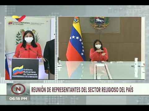Delcy Rodríguez se reúne con representantes religiosos para reactivar iglesias y sitios de culto