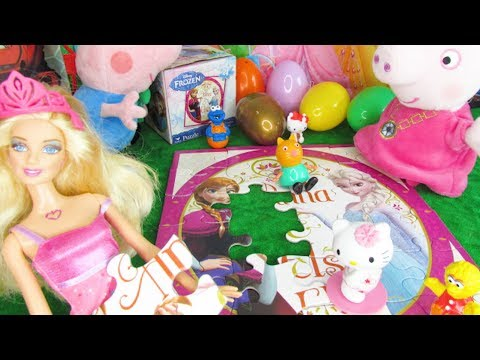 Barbie, Hello Kitty and Friends Help Peppa Pig to Complete Disney Frozen Puzzle with Surprise Eggs