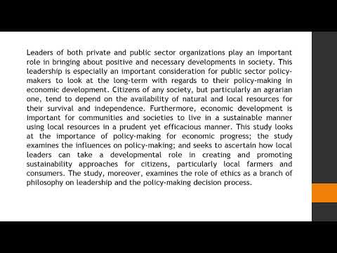 Policy Making Considerations for Ethical and Sustainable Economic Development Economy 41 7 14