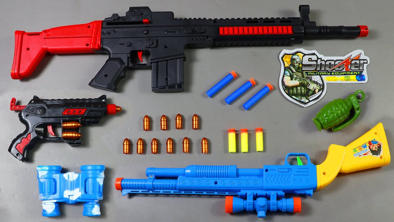 Unboxing Shooter Military Equipment | Toy Guns And Realistic Soft Gun