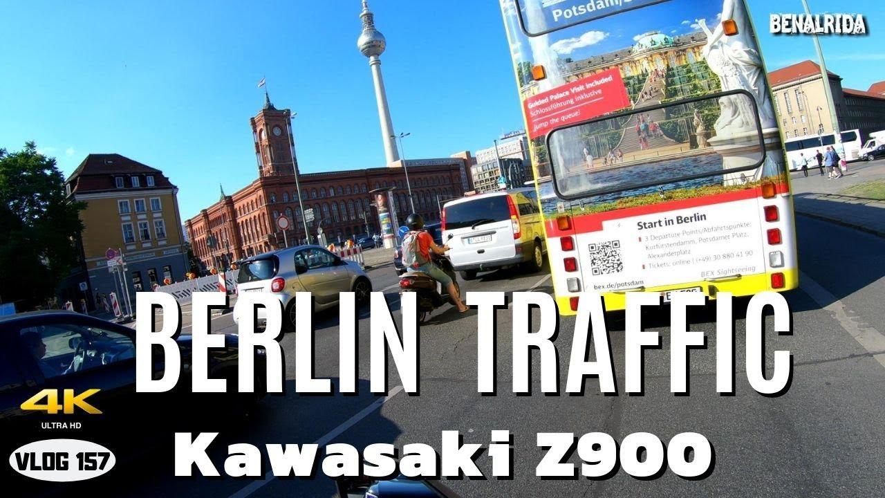 Berlin Traffic (2019) with Kawasaki Z900 -  VLOG157 [4K]