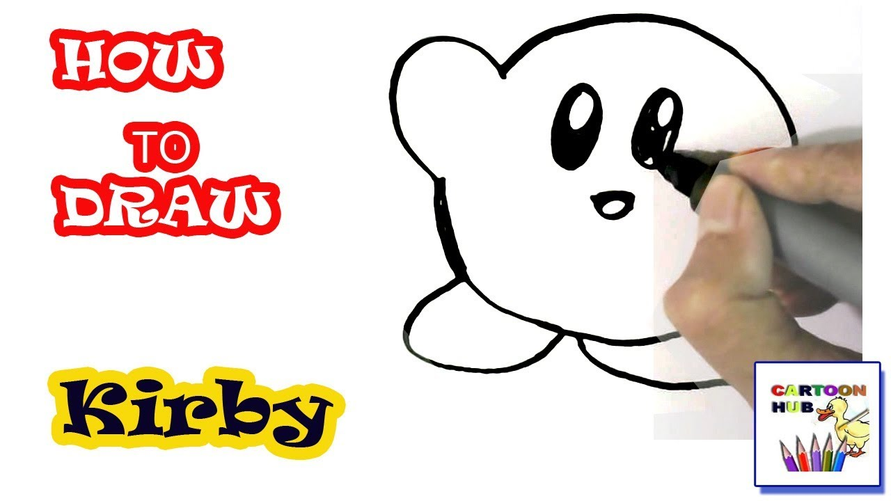 How to draw Kirby in easy steps, step by step for children ...