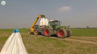 spreading fertilizer fendt 824 and bogballe agri aerial videos