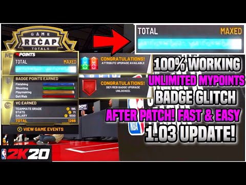 NBA 2K20 MAX BADGE + MYPOINTS GLITCH! *UNLIMITED!* AFTER PATCH! PS4 & XBOX & PC! (2K20 Badge Glitch)