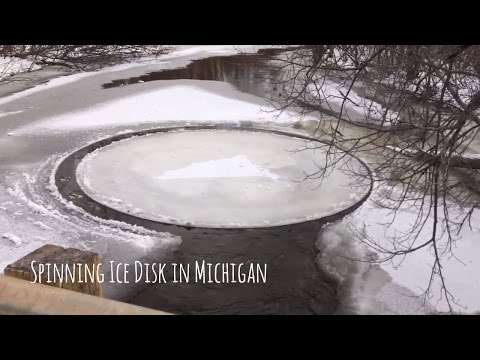 Spinning ice disk in Michigan's Pine River