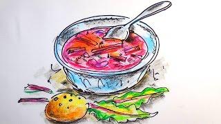 Как нарисовать БОРЩ / Видео урок рисования для детей