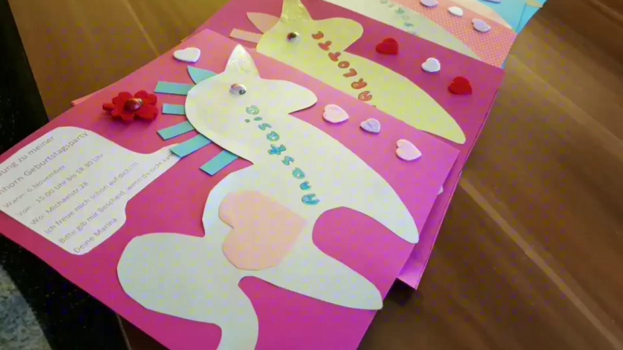 Einhorn Einladungs Karten Ganz Einfach Selber Basteln Diy Bastel Tutorial Kindergeburtstag