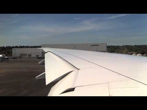 American Airlines 777 takeoff from Boeing Field