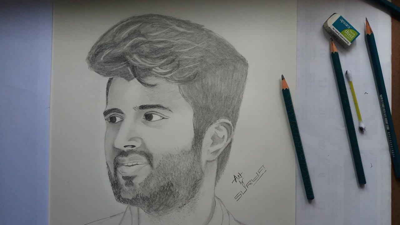 Pencil Art Of Vijay Devarakonda Surya Pencil Art Youtube