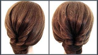 Гениальный пучок на короткие волосы.Simple hairstyle for short hair.